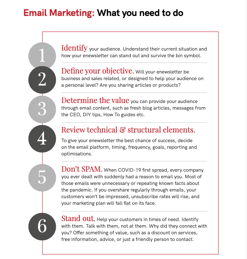 email marketing to do list