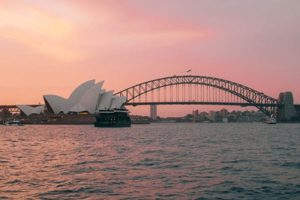 Sunset on Sydney Opera House and Sydney Harbour Bridge