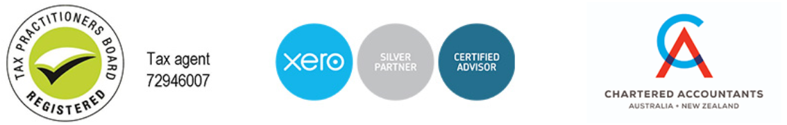 Tax Practitioners Board Registered Logo, Xero logo and Chartered Accountant logos